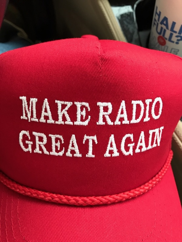 Make Radio Great Again giveaway - enter now - Red hat with white letters